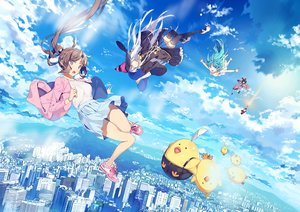 Rating: Safe Score: 11 Tags: animal aqua_eyes aqua_hair bird black_hair brown_hair building city clouds dress elbow_gloves feathers gloves green_eyes group hat japanese_clothes long_hair original short_hair skirt sky summer_dress thighhighs white_hair witch witch_hat yellow_eyes yohan12 User: RyuZU