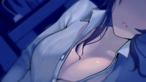 Rating: Questionable Score: 38 Tags: black_hair breasts close long_hair no_bra open_shirt original walzrj User: RyuZU