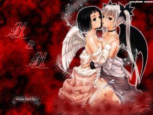 Rating: Questionable Score: 37 Tags: 2girls angel choker demon nude taka_tony tribadism wings yuri User: Oyashiro-sama