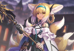 Rating: Safe Score: 61 Tags: animal_ears arknights blonde_hair chagara foxgirl gloves multiple_tails staff suzuran_(arknights) tail yellow_eyes User: Nepcoheart