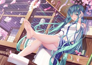 Rating: Safe Score: 212 Tags: barefoot building cherry_blossoms cosplay flowers hatsune_miku japanese_clothes kochiya_sanae pupupu touhou vocaloid User: BattlequeenYume