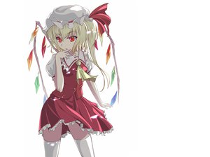 Rating: Safe Score: 103 Tags: blonde_hair flandre_scarlet hat short_hair supertie thighhighs touhou white wings User: Wiresetc