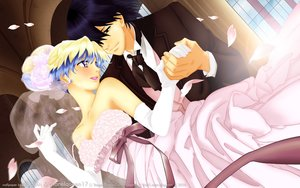 Rating: Safe Score: 15 Tags: blue_hair brown_eyes dress elbow_gloves gloves jpeg_artifacts male nia_teppelin petals ribbons short_hair simon tagme_(artist) tengen_toppa_gurren_lagann watermark wedding wedding_attire User: RyuZU