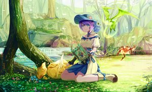 Rating: Safe Score: 131 Tags: animal au_ra bird blue_eyes book boots dress final_fantasy final_fantasy_xiv flowers forest gloves grass hat magic natsumoka necklace owl purple_hair short_hair summoner tree water waterfall User: Flandre93