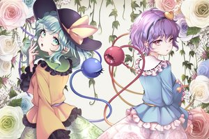 Rating: Safe Score: 45 Tags: 2girls aqua_eyes flowers green_hair komeiji_koishi komeiji_satori pink_eyes purple_hair rose short_hair touhou wikumi User: sadodere-chan