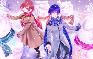 Rating: Safe Score: 18 Tags: hatsune_miku kagamine_len kagamine_rin kaito male megurine_luka meiko snow snowman totono vocaloid User: HawthorneKitty