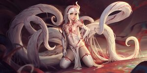 Rating: Questionable Score: 112 Tags: choker dress elbow_gloves gloves green_eyes long_hair nipples original pointed_ears sarena tentacles thighhighs white_hair User: SciFi