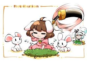 Rating: Safe Score: 8 Tags: 2girls animal animal_ears brown_hair bunny_ears bunnygirl cat_smile dress headband inaba_tewi kashuu_(b-q) konpaku_youmu myon rabbit short_hair skirt sword touhou weapon white_hair User: otaku_emmy