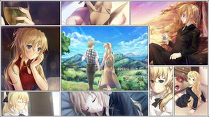 Rating: Safe Score: 52 Tags: blonde_hair blue_eyes brown_hair game_cg katawa_shoujo long_hair nakai_hisao pajamas satou_akira satou_lilly scenic short_hair skirt sleeping User: sideron22