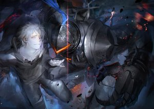 Rating: Safe Score: 49 Tags: all_male armor fate/grand_order fate_(series) fate/stay_night fate/zero lancelot_(fate) liduke male matou_kariya short_hair white_hair User: RyuZU