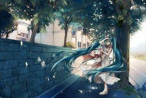 Rating: Safe Score: 117 Tags: aqua_eyes aqua_hair dress hat hatsune_miku long_hair summer_dress tree tsukioka_tsukiho twintails vocaloid User: eDeath32