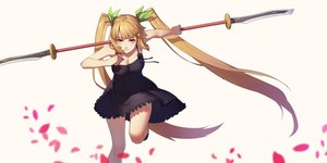 Rating: Safe Score: 104 Tags: blonde_hair breasts cleavage daye_bie_qia_lian dress long_hair sangai_senki signed spear summer_dress twintails weapon yellow_eyes User: Flandre93