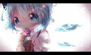 Rating: Safe Score: 78 Tags: akisha blue_eyes blue_hair bow cirno ice_cream ribbons short_hair touhou wings User: Flandre93