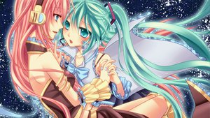 Rating: Safe Score: 50 Tags: 2girls dress hatsune_miku headphones megurine_luka space stars twintails vocaloid yayoi_(egoistic_realism) User: HawthorneKitty