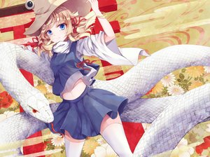 Rating: Safe Score: 49 Tags: animal blonde_hair blue_eyes flowers furapechi hat mishaguji moriya_suwako navel ribbons short_hair skirt snake thighhighs touhou User: RyuZU