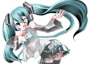 Rating: Safe Score: 93 Tags: aqua_eyes aqua_hair bra breasts cleavage hatsune_miku long_hair rin2008 skirt thighhighs twintails underwear vocaloid white User: SciFi