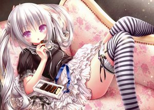 Rating: Safe Score: 292 Tags: candy chocolate food garter gray_hair loli long_hair navel original purple_eyes scan thighhighs tinkle twintails underwear User: gnarf1975