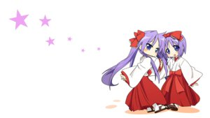 Rating: Safe Score: 47 Tags: 2girls blue_eyes bow hiiragi_kagami hiiragi_tsukasa japanese_clothes lucky_star miko purple_hair stars white User: Iceguy
