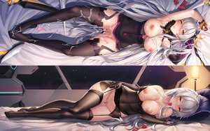 Rating: Explicit Score: 200 Tags: bed breasts censored condom cum honkai_impact kiana_kaslana nipples pussy stockings yuli_you_gua User: BattlequeenYume