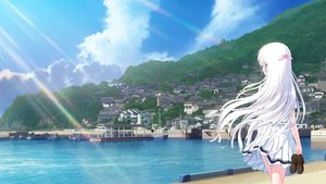 Rating: Safe Score: 129 Tags: boots building city forest key long_hair scenic seifuku skirt tagme_(artist) tagme_(character) tree water white_hair User: Dummy