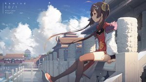 Rating: Safe Score: 148 Tags: anthropomorphism azur_lane brown_hair building chinese_clothes chinese_dress clouds dress kieed long_hair ping_hai_(azur_lane) red_eyes reflection sky thighhighs twintails User: BattlequeenYume