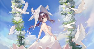 Rating: Safe Score: 51 Tags: animal arknights ass bird brown_hair clouds dress hat headdress purestream_(arknights) twintails wedding_attire yi_zhi_bai_bo User: Arsy