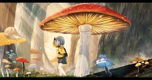 Rating: Safe Score: 51 Tags: akky_(akimi1127) aqua_eyes forest gray_hair original scenic short_hair skirt tree wet User: RyuZU