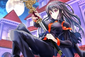 Rating: Safe Score: 22 Tags: black_hair breasts building cape erect_nipples long_hair moon night red_eyes sky stars sword tagme_(artist) weapon User: BattlequeenYume