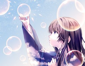 Rating: Safe Score: 31 Tags: blue_eyes brown_hair bubbles close japanese_clothes kimono long_hair original tagme_(artist) User: luckyluna