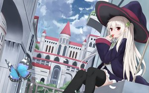 Rating: Safe Score: 103 Tags: building butterfly city clouds food fruit hat long_hair original red_eyes skirt sky staff strawberry thighhighs touhourh twintails white_hair witch_hat User: otaku_emmy