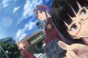 Rating: Safe Score: 58 Tags: black_eyes black_hair blue_eyes blush bow braids brown_hair building car close clouds glasses goiro_(doukutsuwa) headband long_hair original purple_hair seifuku short_hair sky tree User: FormX