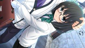 Rating: Safe Score: 42 Tags: bow game_cg glasses hinasaki jirai_soft short_hair susonobe_nami tsuisou_no_augment User: Maboroshi