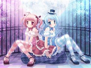 Rating: Safe Score: 102 Tags: 2girls allegro_mistic blue_eyes blue_hair blush cage dress hat loli long_hair moon original pink_eyes tagme takano_yuki User: Kunimura