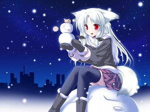 Rating: Safe Score: 113 Tags: christmas collar foxgirl inakoi kamishiro_mutsuki photoshop red_eyes santa_costume snow thighhighs white_hair User: kisumi