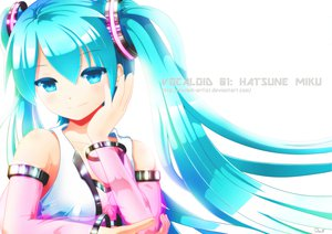 Rating: Safe Score: 168 Tags: aqua_eyes aqua_hair exiled-artist hatsune_miku signed twintails vocaloid watermark white User: Dust