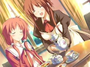 Rating: Safe Score: 6 Tags: amagahara_inaho blush brown_hair drink favorite food game_cg happy_margaret! kokonoka maid red_hair sakura_mao User: 秀悟