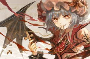 Rating: Safe Score: 64 Tags: blood blue_hair chain close cross fang hat red_eyes remilia_scarlet tagme_(artist) touhou vampire wings User: RyuZU