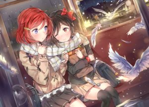 Rating: Safe Score: 289 Tags: 2girls animal bird black_hair blue_eyes blush bow cozyquilt feathers food fruit headphones love_live!_school_idol_project nishikino_maki orange_(fruit) phone red_eyes red_hair scarf short_hair snow thighhighs twintails wink winter yazawa_nico zettai_ryouiki User: Flandre93