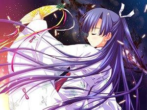 Rating: Safe Score: 60 Tags: fan feng game_cg hoshizora_e_kakaru_hashi japanese_clothes koumoto_madoka long_hair night purple_hair ryohka yukata User: Wiresetc