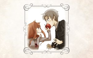 Rating: Safe Score: 14 Tags: animal_ears apple brown_hair craft_lawrence gray_eyes gray_hair horo long_hair red_eyes short_hair spice_and_wolf white wolfgirl User: wanjas