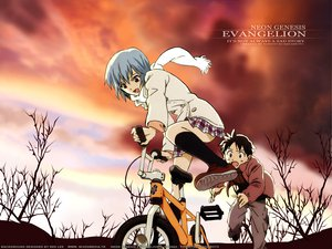 Rating: Safe Score: 3 Tags: ayanami_rei bicycle ikari_shinji neon_genesis_evangelion User: Oyashiro-sama