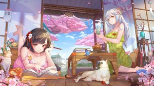 Rating: Safe Score: 54 Tags: 2girls animal barefoot book brown_eyes brown_hair building butterfly cat chengchenwang cherry_blossoms clouds dress drink flowers gray_hair long_hair no_bra original sky summer_dress tree User: BattlequeenYume