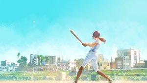 Rating: Safe Score: 48 Tags: ball baseball baseball_bat building city gloves hat kneehighs original ponytail signed sky sport uniform wayne_chan User: RyuZU