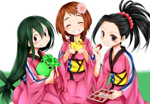 Rating: Safe Score: 12 Tags: asui_tsuyu black_eyes black_hair boku_no_hero_academia brown_hair chikuwa_savi food green_hair japanese_clothes long_hair ponytail rubber_duck short_hair uraraka_ochako yaoyorozu_momo yukata User: RyuZU