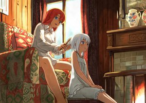 Rating: Safe Score: 120 Tags: 2girls hong_meiling izayoi_sakuya red_hair shiba_murashouji short_hair touhou white_hair User: FormX