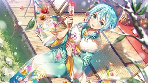 Rating: Safe Score: 68 Tags: animal_ears aqua_eyes aqua_hair ball blush dsmile grass japanese_clothes kimono original twintails User: BattlequeenYume