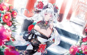 Rating: Safe Score: 72 Tags: breasts cleavage dress flowers horns japanese_clothes kimono kinokohime_(mican02rl) original purple_eyes snow stairs torii white_hair User: BattlequeenYume