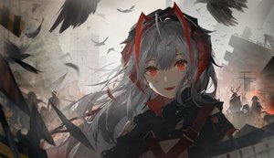 Rating: Safe Score: 108 Tags: animal arknights bird crownslayer_(arknights) frostnova_(arknights) horns patriot_(arknights) red_eyes w_(arknights) weapon zzz_(orchid-dale) User: PrimalAgony