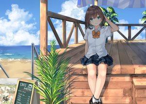 Rating: Safe Score: 60 Tags: beach blush bow brown_hair clouds green_eyes miko_fly original school_uniform shade short_hair signed skirt sky socks stairs water User: otaku_emmy
