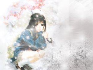 Rating: Safe Score: 28 Tags: black_hair brown_eyes long_hair school_uniform snow tagme_(artist) tagme_(character) umbrella winter User: Oyashiro-sama